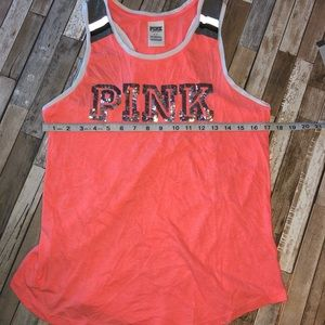 PINK Small Racerback Tank Top With Sequins